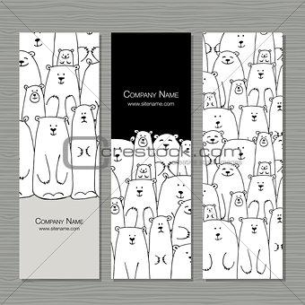 Greeting cards design, polar bears family
