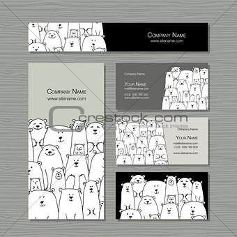Business cards design, polar bears family