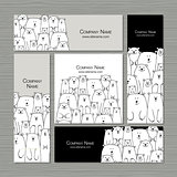 Business cards design, polar bears family