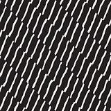 Seamless pattern hand drawn brush strokes. Ink doodle grunge illustration. Geometric monochrome vector pattern.