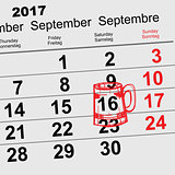 September 16, 2017 Oktoberfest. Calendar beer mug reminder icon
