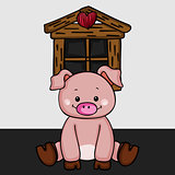 Cute little pig background