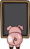 Little pig to back with blackboard menu