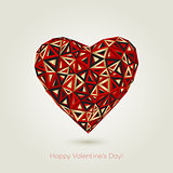 Happy valentines day. Love greeting card with heart shape design in low poly style