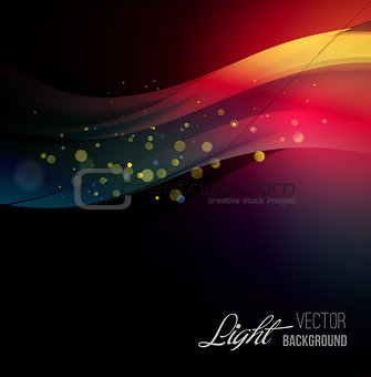 Abstract background with shiny wave and bokeh light.