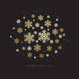 Golden snowflake on a dark background