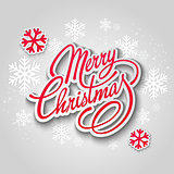 Merry Christmas greeting card. Lettering Paper design