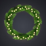 Green Christmas wreath with incandescent light string and pine tree branches. Vector template, space for text.