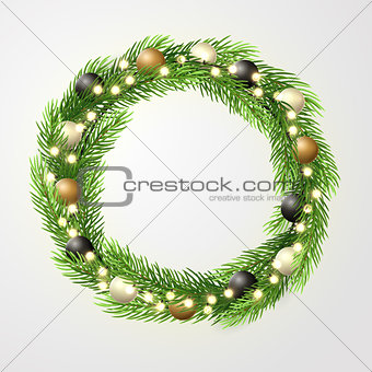 Green Christmas wreath with incandescent light string, fir-tree branches and christmas decorations. Vector template, space for text.