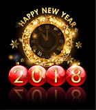 2018 new year golden clock and letters in christmas ball