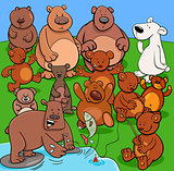 bears animal characters cartoon illustration