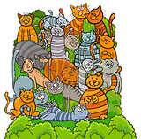 cat characters group cartoon illustration