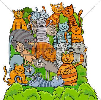 cat characters group cartoon illustration
