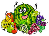 funny fruit characters group cartoon