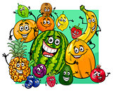 cute fruit characters group cartoon