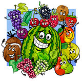witty fruit characters group cartoon