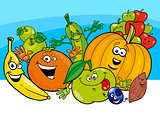 cartoon vegetable and fruit characters