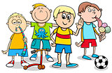 kid boys with toys cartoon illustration