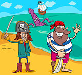 pirates on island cartoon illustration