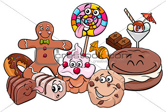candy characters group cartoon illustration