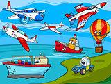 transportation vehicles cartoon illustration