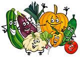 vegetable characters group cartoon illustration