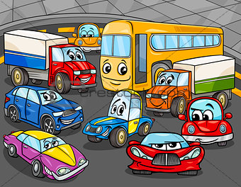 car vehicles cartoon characters group