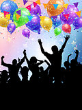 Silhouettes of party people on a balloons and confetti backgroun
