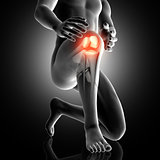 3D male figure with knee highlighted in pain