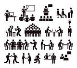Workplace concept, pictogram illustration
