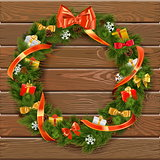 Vector Christmas Wreath on Wooden Board 10