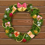 Vector Christmas Wreath on Wooden Board 8
