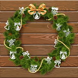 Vector Christmas Wreath on Wooden Board 9