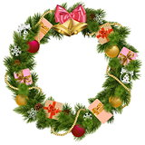 Vector Christmas Wreath with Christmas Bell
