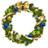 Vector Christmas Wreath with Golden Ribbon