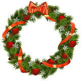 Vector Christmas Wreath with Red Decorations