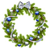 Vector Fir Wreath with Blue Decorations