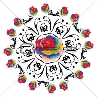 Abstract Rainbow Roses Round