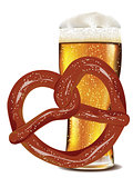 Cartoon Pretzel with Beer