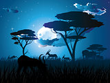 Night Landscape with Antelopes