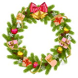 Vector Fir Wreath with Christmas Bell
