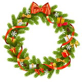 Vector Fir Wreath with Gifts