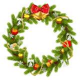 Vector Fir Wreath with Golden Beads