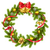 Vector Fir Wreath with Golden Bells