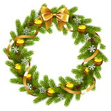 Vector Fir Wreath with Golden Decorations
