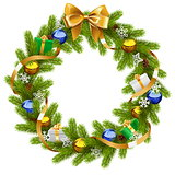 Vector Fir Wreath with Golden Ribbon