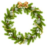Vector Fir Wreath with Paper Decorations