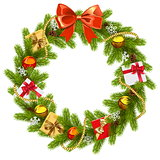 Vector Fir Wreath with Red Bow
