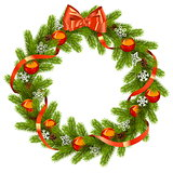 Vector Fir Wreath with Red Decorations