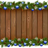 Vector Seamless Christmas Board with Blue Balls